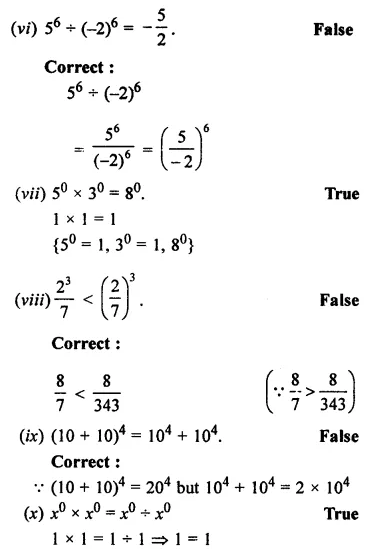ML Aggarwal Class 7 Solutions for ICSE Maths Chapter 4 Exponents and Powers Objective Type Questions 5