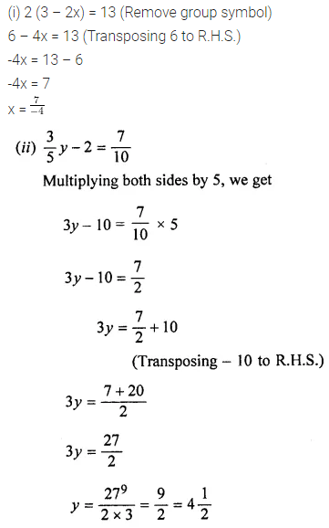 ML Aggarwal Class 7 Solutions for ICSE Maths Chapter 9 Linear Equations and Inequalities Ex 9.1 1