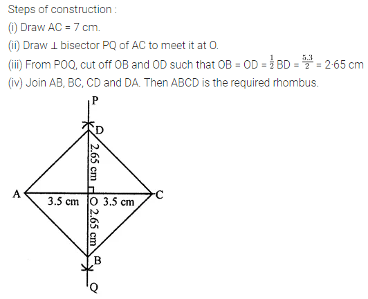 ML Aggarwal Class 8 Solutions for ICSE Maths Chapter 14 Constructions of Quadrilaterals Check Your Progress 11