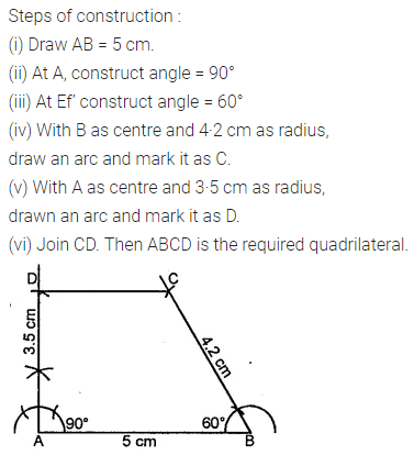 ML Aggarwal Class 8 Solutions for ICSE Maths Chapter 14 Constructions of Quadrilaterals Check Your Progress 2