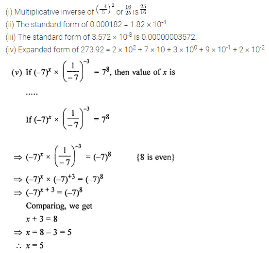ML Aggarwal Class 8 Solutions for ICSE Maths Chapter 2 Exponents and Powers Objective Type Questions 1