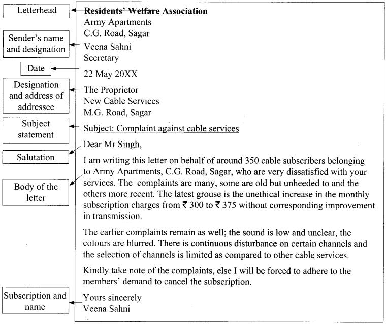 Letter of Complaint Class 12 CBSE 1