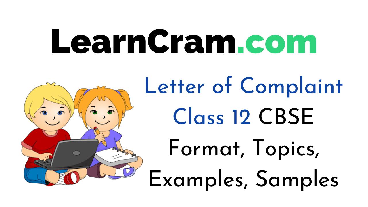 letter of complaint class 12