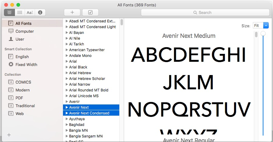 Font Book gives the Mac a chance to organize lists of fonts