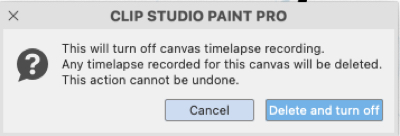 This is the warning window that pops up when you try to end a timelapse.  CSP gives you one last chance to change your mind.