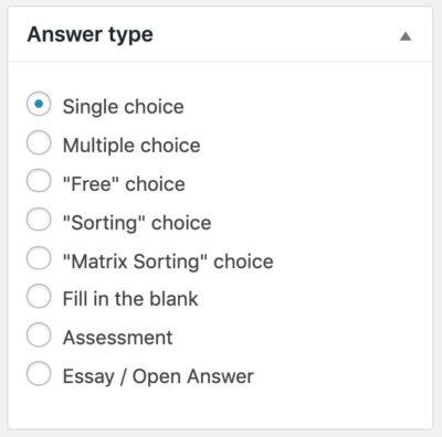 Choose LearnDash question type