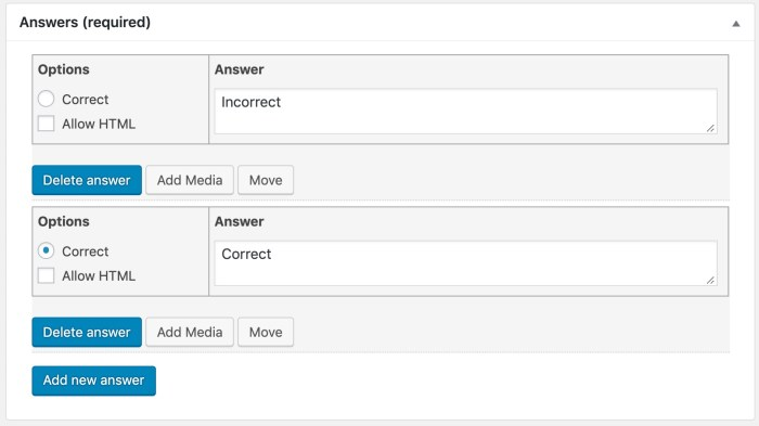 LearnDash single choice question in admin