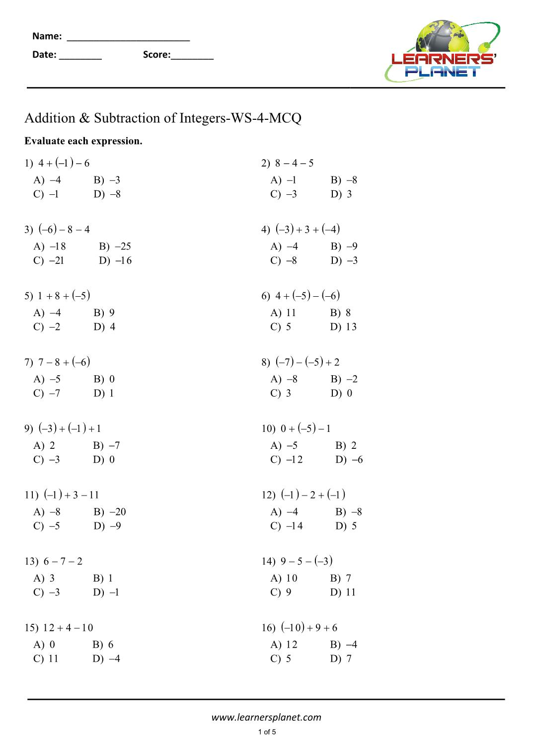 Addition Of Integers Worksheet Grade 7