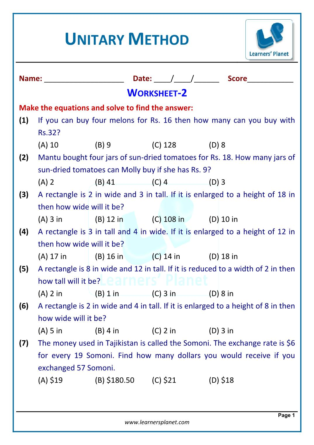 Capacity Worksheet Year 1 Tes
