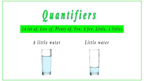 Quantifiers: a lot of, lots of, plenty of, few, a few, little, a little