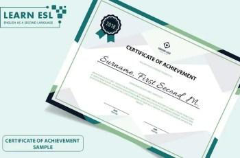 Certificate of Achievement Sample & Script in English