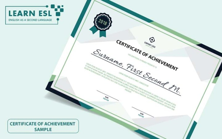 Certificate of Achievement Sample & Script in English