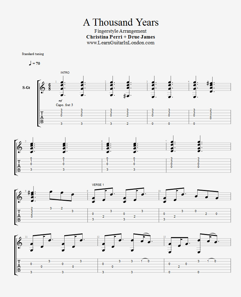 A Thousand Years Acoustic Chords