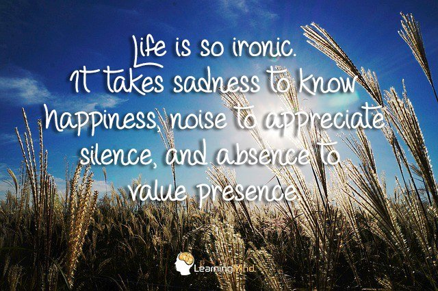 Life is so ironic. It takes sadness to know happiness, noise to appreciate silence, and absence to value presence