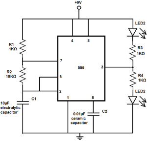 How to Build an LED Flasher Circuit with a 555 Timer Chip