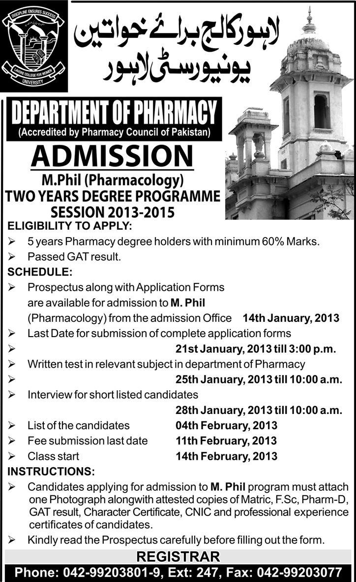 Government College for Women University M.Phil Admissions 2015
