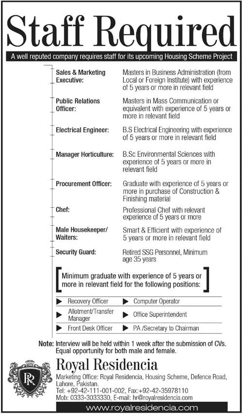 Staff Required at Royal Residencia