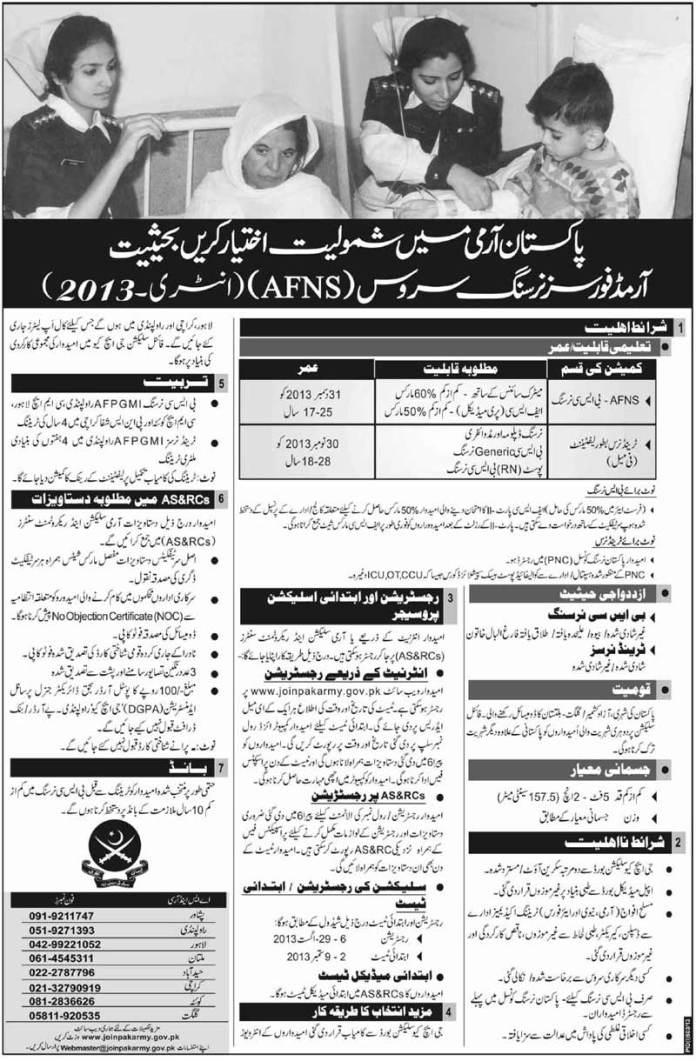 Nursing Jobs in Pakistan Army August 2013
