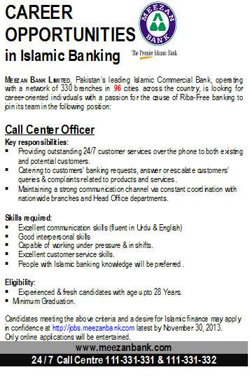 Call Center Officer Required At Meezan Islamic Banking