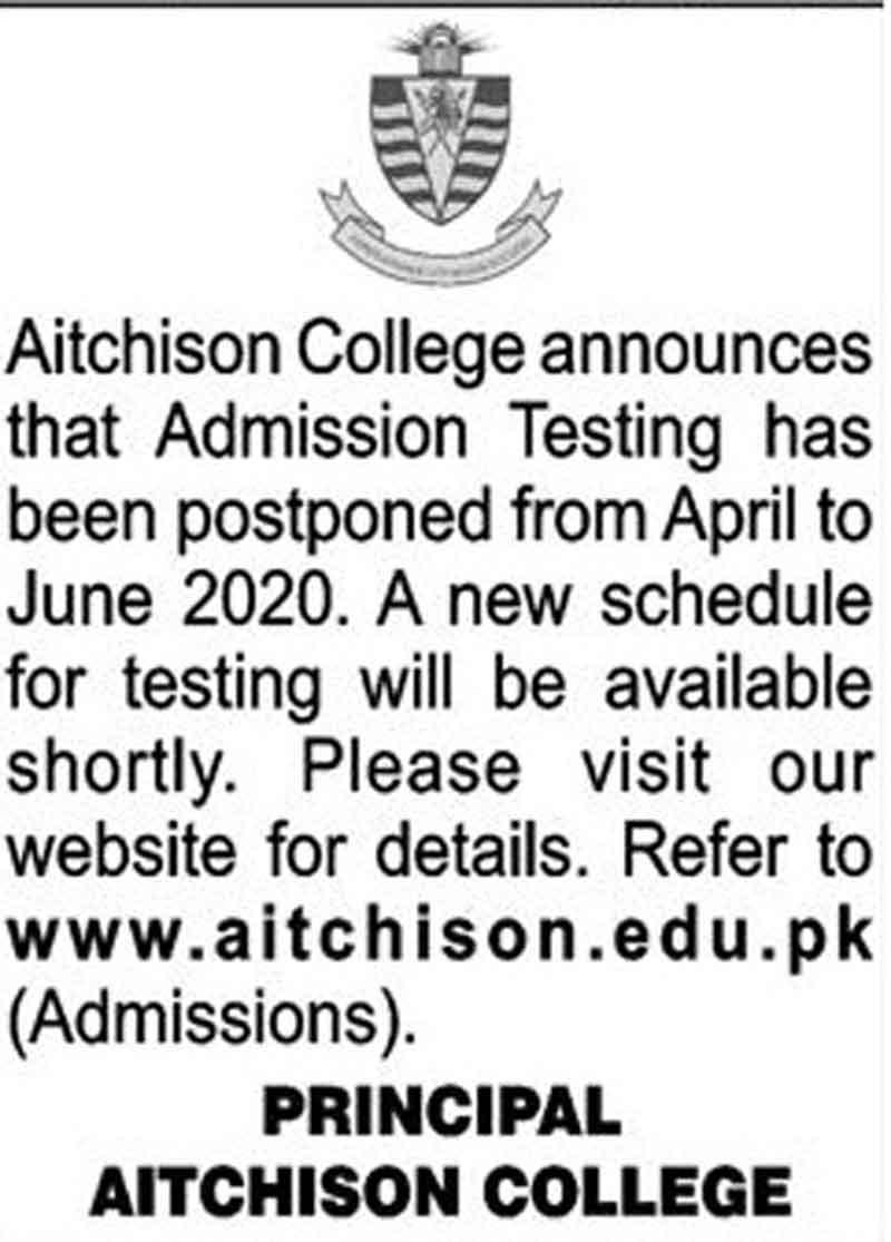 Aitchison College Lahore Admission 2020 Application Form
