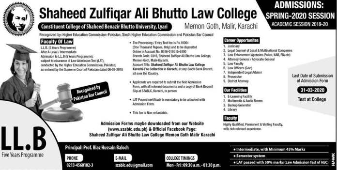 Shaheed-Zulfiqar-Ali-Bhutto-Law-College-Admission