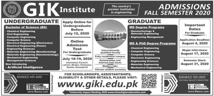 GIKI-Entry-Test-Admission-BS-MS-PhD-Degree