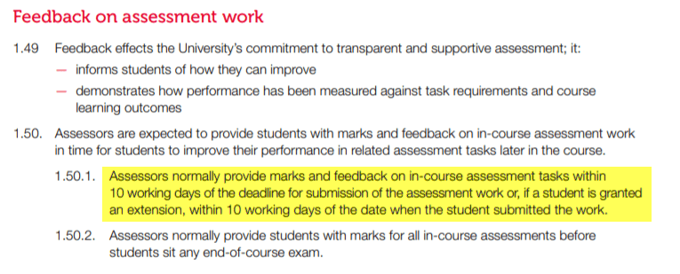 The following are excerpts from the RMIT Assessment Processes (RMIT University 2018, p. 9)
