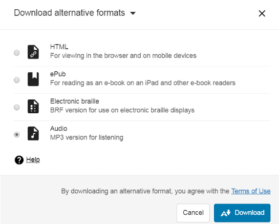 After you've created a tagged PDF you will be presented with alternative formats