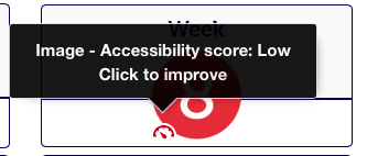 Ally showing low Accessiblity on an image
