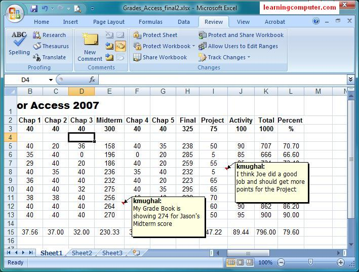 Microsoft Excel 2007 – Review Tab