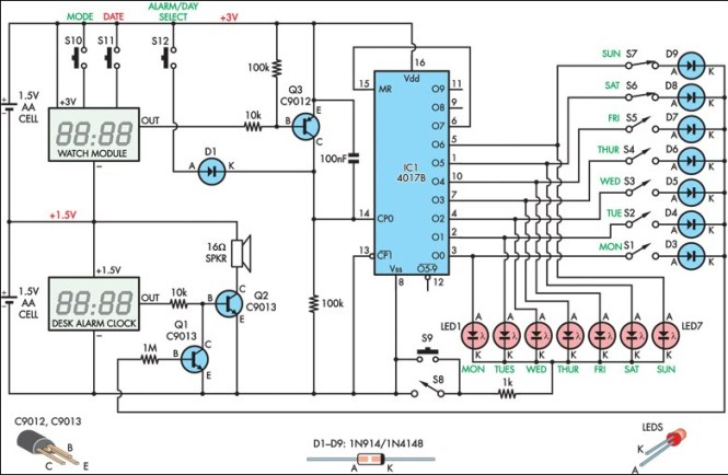 Alarm Clock With Day Selector Circuit