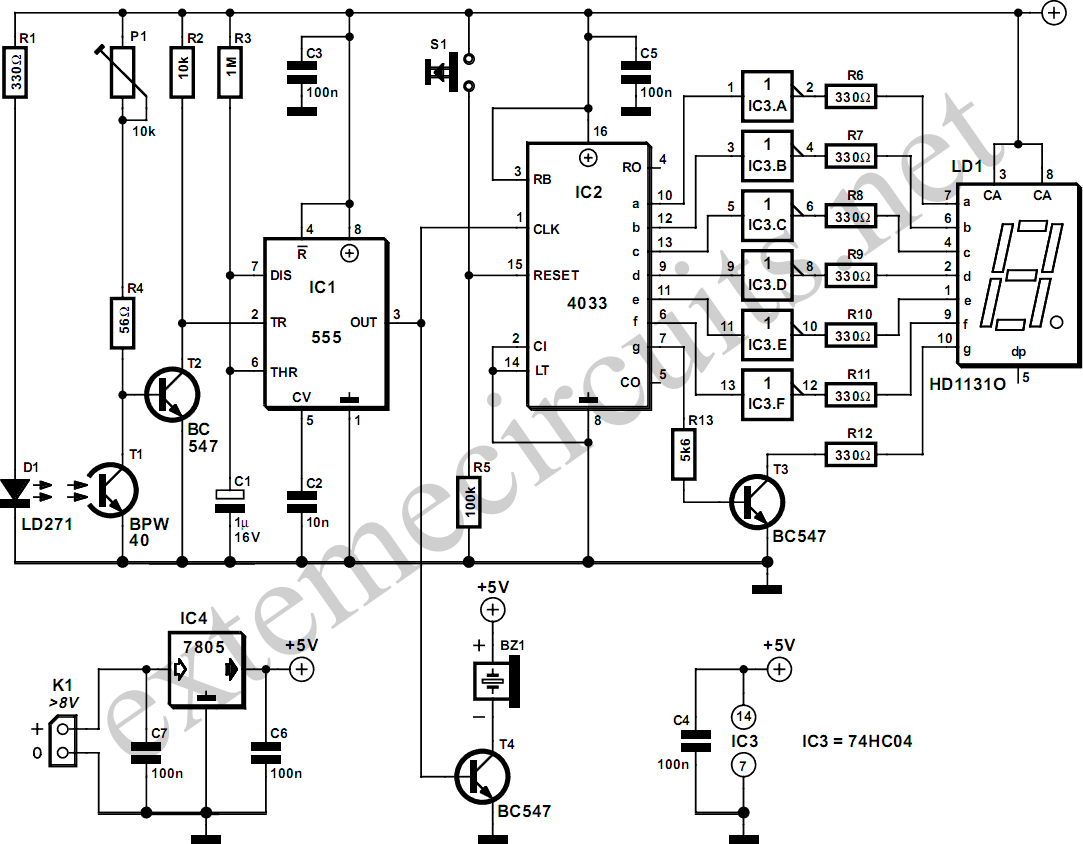 Light Gate With Counter Using 555 And Circuit Diagram