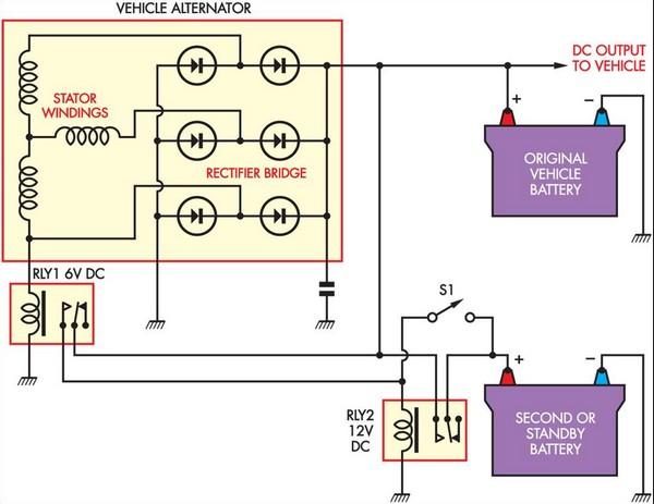 simple battery isolator circuit diagram