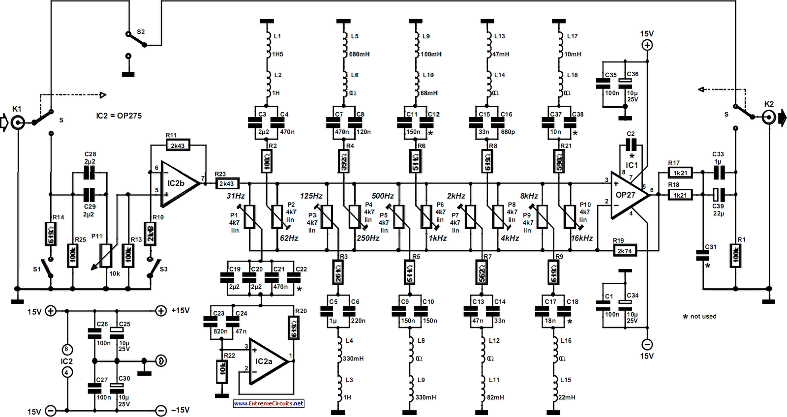 Ten Band Equalizer Circuit Diagram