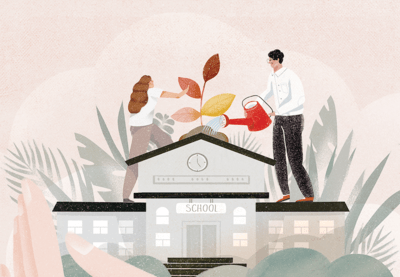 Illustration of people watering plants on top of a school.