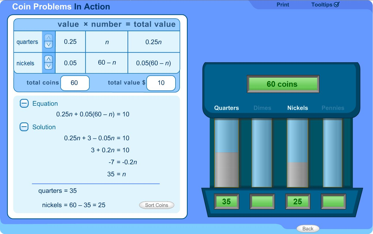 6th 8th Grade Math Learning Activity Total Value Using Coins