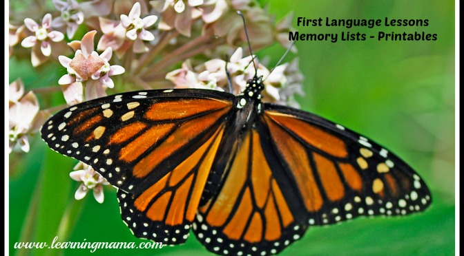 First Language Lessons - Memory List Printables