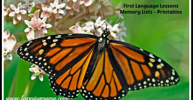 First Language Lessons - memory lists (state of being & helping verbs, prepositions) FREE PRINTABLE to accompany FLL by Peace Hill Press