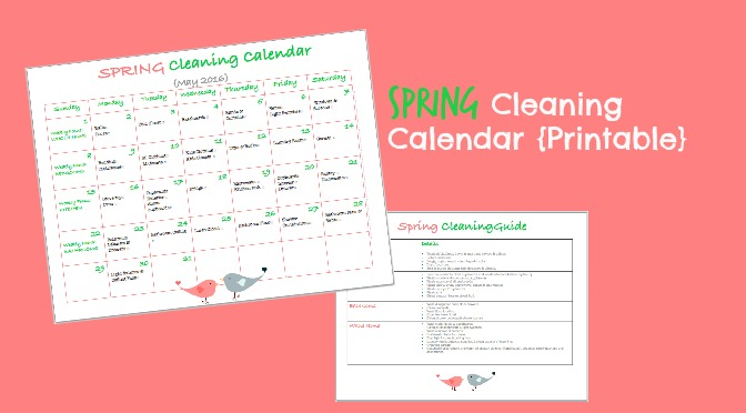 Spring Cleaning Calendar {Printable}