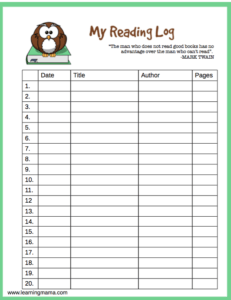 image about Reading Log Printable identified as Printable Examining Log - Finding out Mama
