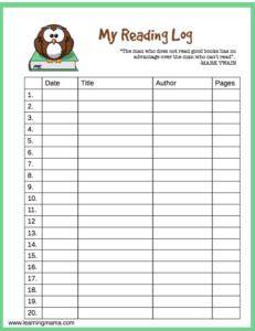 Owl themed, printable reading log