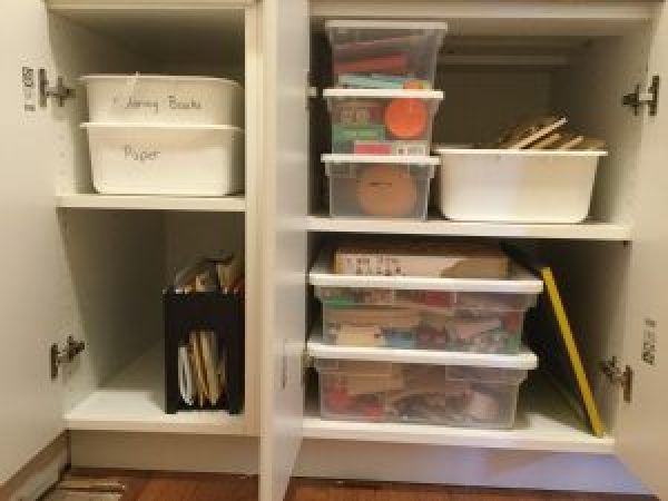 Homeschooling Without a Schoolroom: keeping all our school supplies out of sight but within easy reach