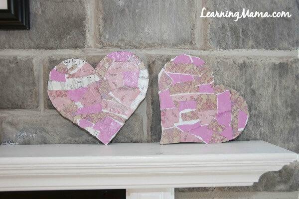 Easy Decoupage Heart Art Project for Kids