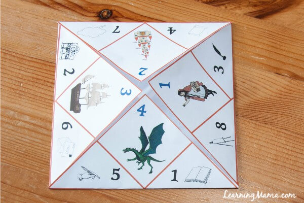 This printable narration prompt cootie catcher makes narration fun