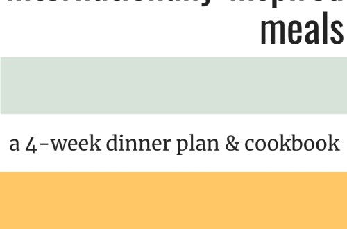 Internationally-Inspired Meals is a downloadable, printable PDF file that gives you recipes, grocery lists, and tips & tricks for four weeks of dinners.