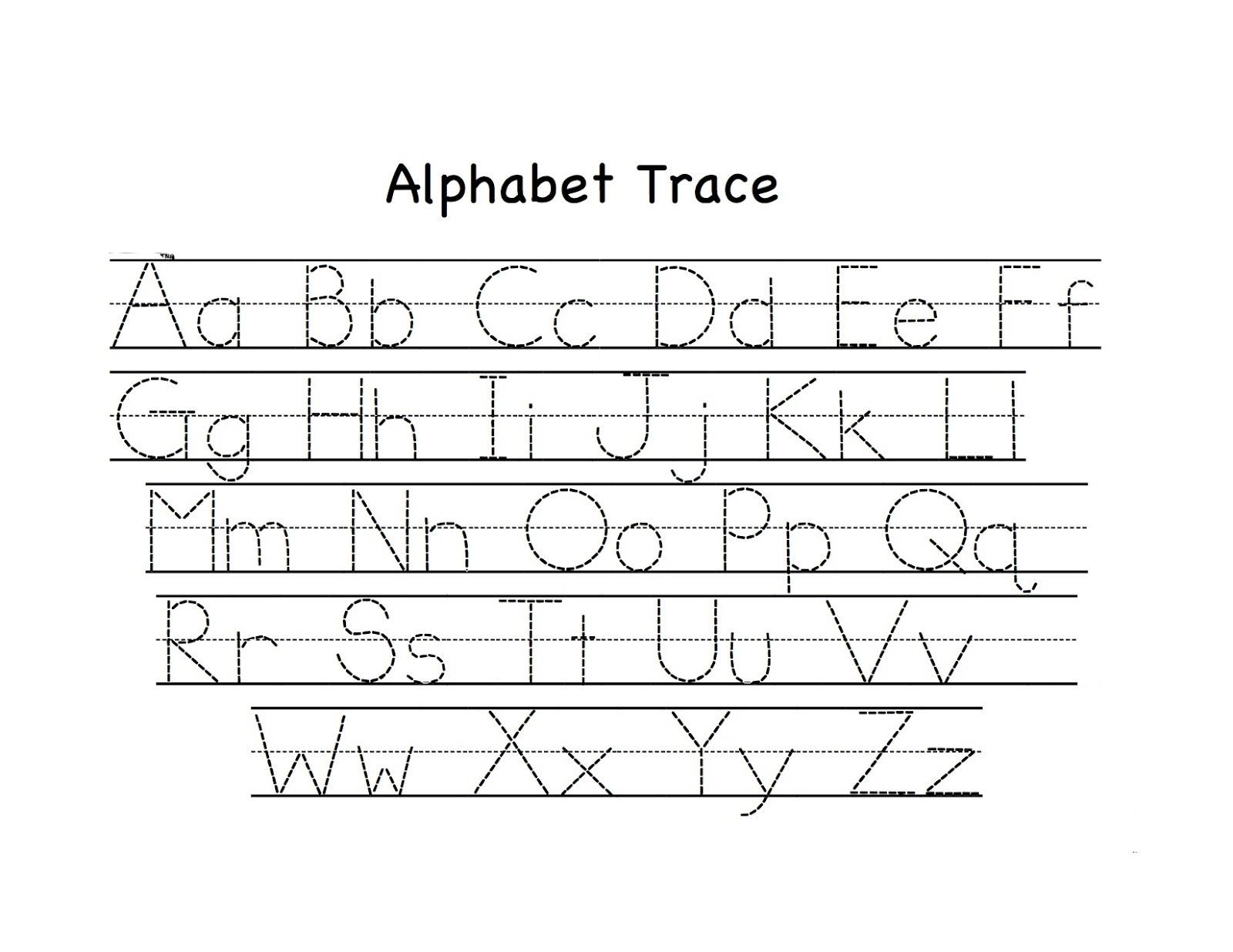 Abc Tracing Activity Sheets Page Learning Printable