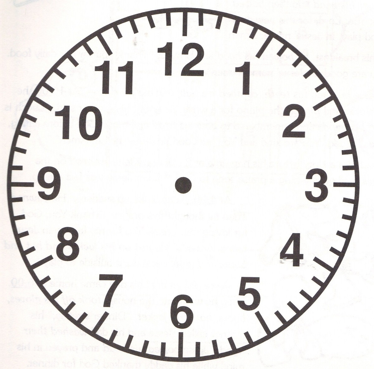Clock Face Image Simple Learning Printable