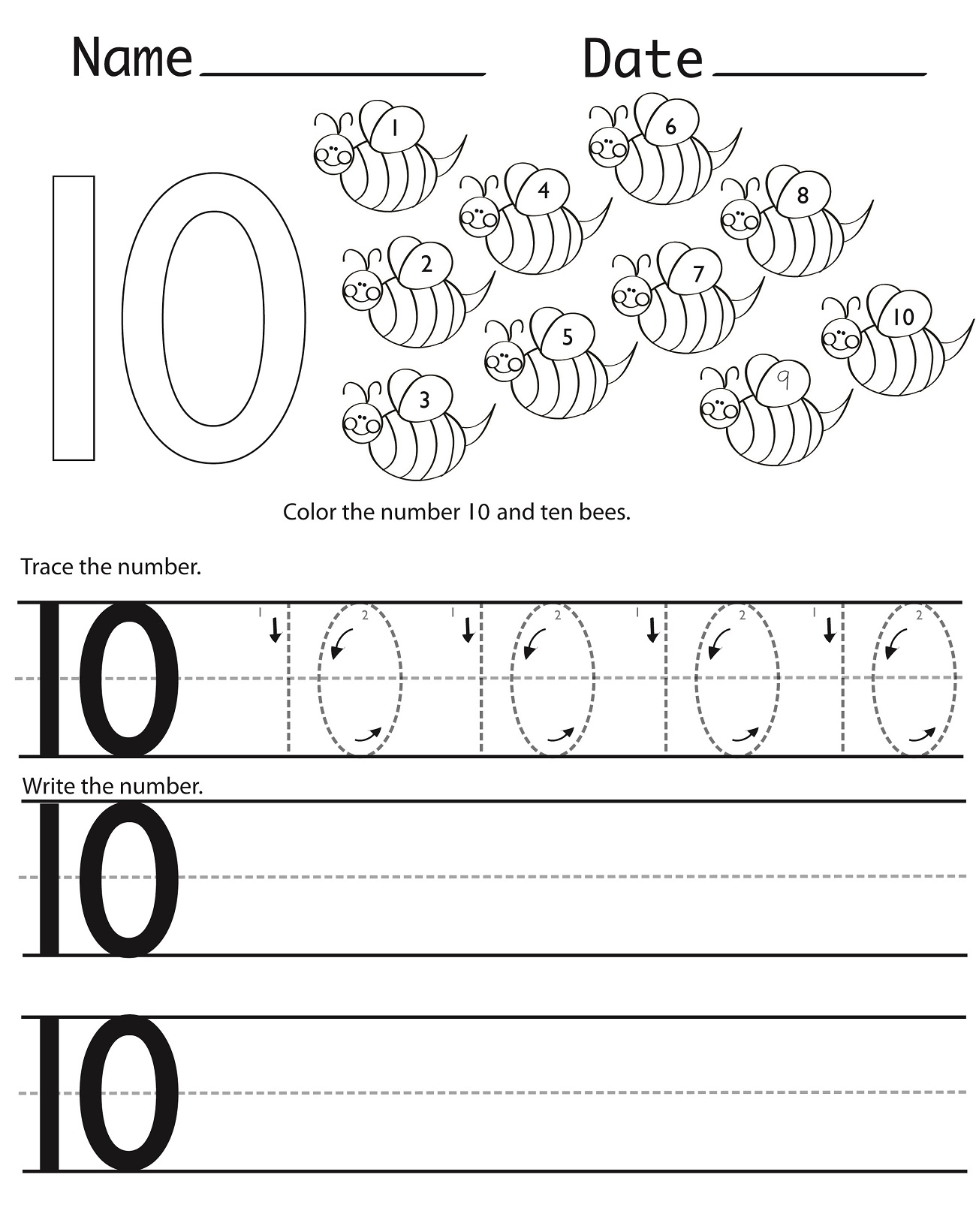 Number 10 Preschool Worksheets