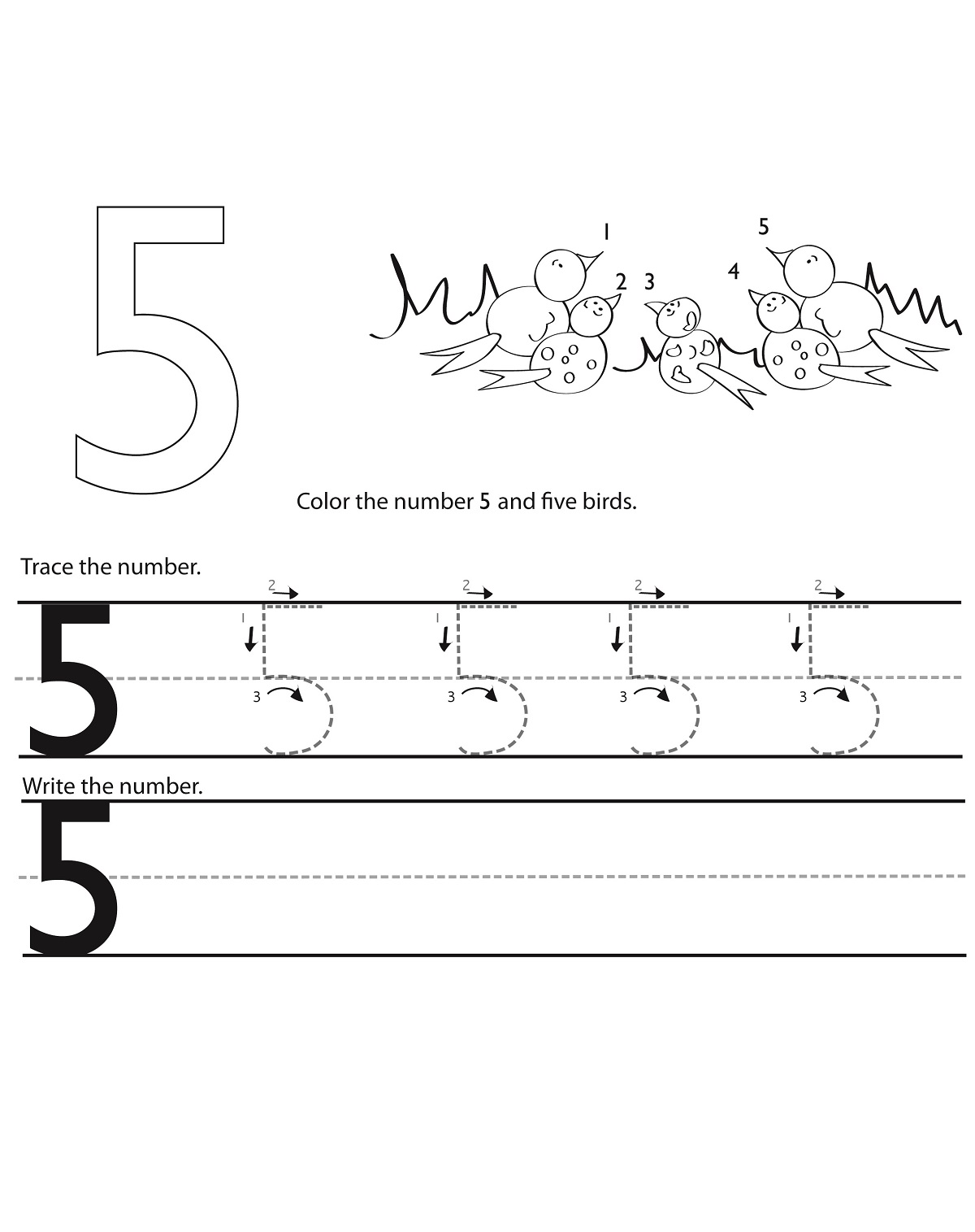 5 Tracing Worksheet Practice Learning Printable