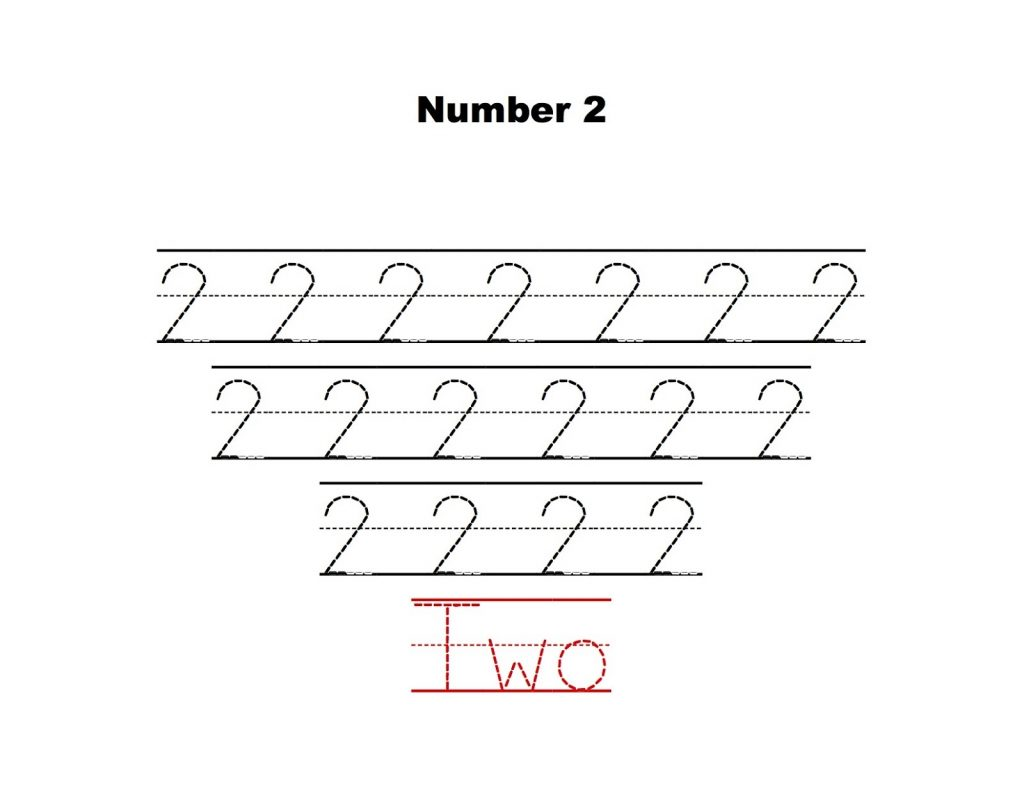 Number 2 Tracing Worksheets
